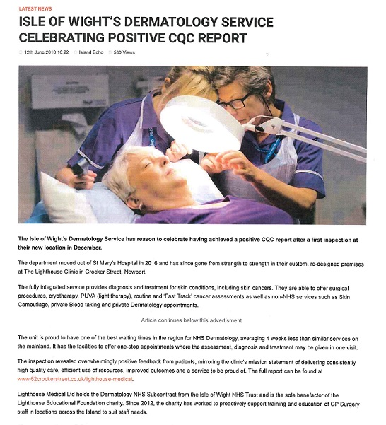 Dermatology Service Celebrates Positive CQC Report